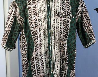 Tribal Tiki Embroidered Mens Shirt Retro Size XL Handmade Button Up Luau Geometric MCM Unique