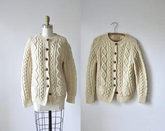 Clotted Cream / 1970s fishermans sweater / 70s cable knit cardigan sweater