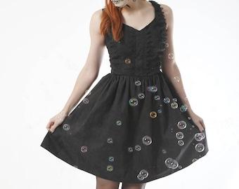 Gothic Lolita Dress, Dark Lace print, Goth Steampunk, Catrina, Victorian, Goth, Ready to ship