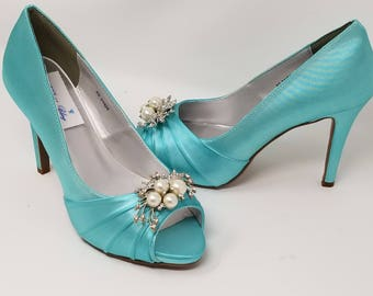 Tiffany blue heels etsy blue wedding shoes with pearl and crystal design blue bridal shoes over 100 color choices junglespirit Gallery