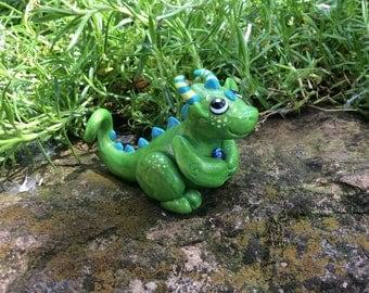 Little Green Polymer Clay Dragon