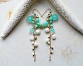 Mint Gemstone Cluster Dangle, Mint White Long Earrings, Blue Opal Long Dangle:  Ready Made