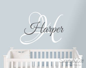 Name and Initial wall decal - wall decals nursery - Children name decal - Personalized name decal - Nursery decor - Children name
