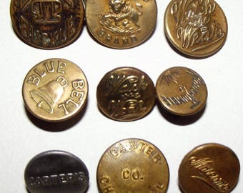 Antique Buttons ~ Vintage Overall Work Clothes Buttons ~ 9 Vintage Overall Buttons
