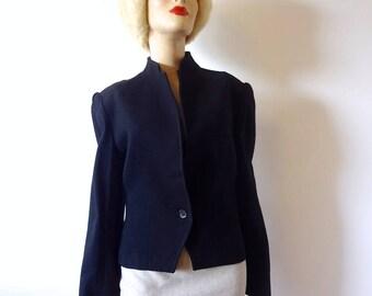 1980s Black Wool Jacket, women's vintage suit coat, blazer size M