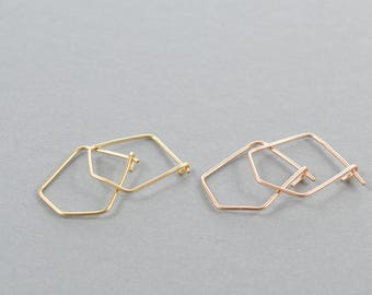 Hexagon Hoops, Small Geometric Hoop Earrings, Gold, Silver, Or Rose Gold Earrings