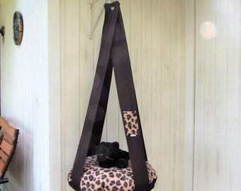 Cat Bed, Leopard Print Fleece Kitty Cloud, Single Hanging Cat Bed, Pet Furniture, Cat Tree