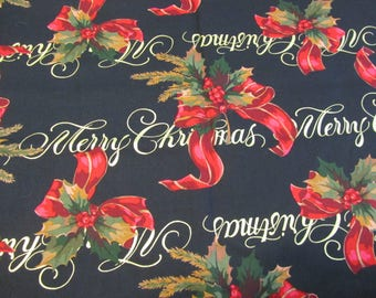 """ALEXANDER HENRY MERRY CHRiSTMAS Fabric High Quality Cotton Quilting Fabric 1 yard x 45"""" wide"""