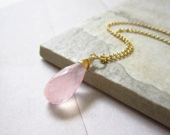 XlG - Light Pink Rose Quartz Pendant - Natural Gemstone Jewelry - 14k Gold Pendant - Sterling Silver Pendant - Pink Gemstone Pendant