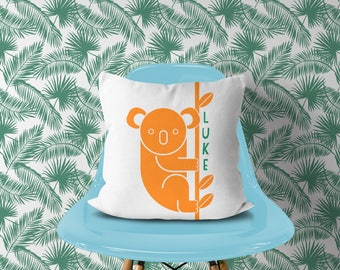 Personalized Koala Bear Pillow, Orange Name Nursery , Tropical Nursery Animal Name, Toddler Room Pillow, Australia Travel Nursery Decor Bear