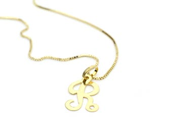 14k Yellow Gold Initial Letter R Pendant Necklace