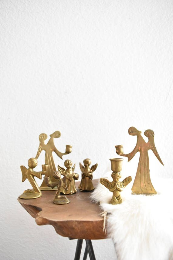 instant collection of christmas solid brass miniature angel cupid candleholders / set of 7