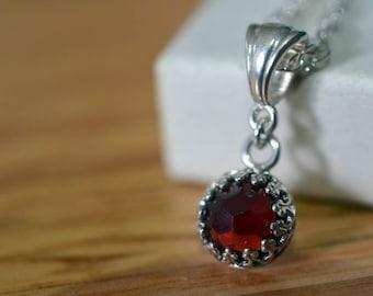 Dainty Garnet Necklace, Tiny Red Gemstone Pendant, Silver Chain, Wedding Jewelry, Bridesmaid Gift, Bride's Necklace, Natural Garnet Jewelry