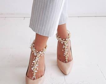 Beach Wedding/Barefoot Sandals/Bridal Swarovski Crystal Shoes,Boho Slave Anklet,Wedding Anklet,Bridesmaid Accessories,FIFI design
