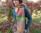 "Hand Woven Scarf multicolor wool ""autumn forest"""