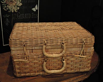 Vintage Country Suitcase / Bamboo Picnic Basket / French Style Rustic Decor