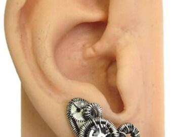 Pair of Sterling Silver Steampunk Ear Pins, Ear Vines, Ear Sweeps, Ear Cuffs, Clip-on Earrings