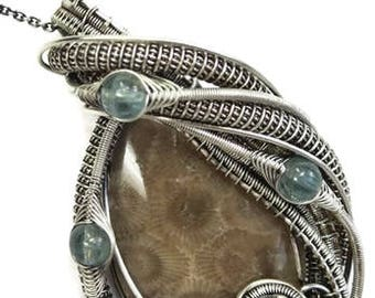 Petoskey Stone Wire-Wrapped Pendant in Antiqued Sterling Silver with Green Apatite