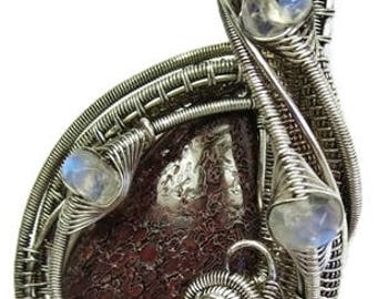 Fossilized Dinosaur Bone Pendant in Antiqued Sterling Silver with Rainbow Moonstone