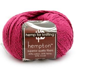Hemp Cotton Yarn, Dark Pink 130yd Hemp/Cotton/Modal Blend