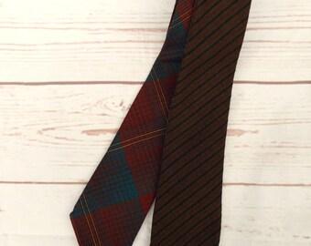 Four Way Tie - Vintage Tweed Tie - Vintage Wool Tie - Vintage 70s Tie - Men's Necktie - Skinny Wool Tie