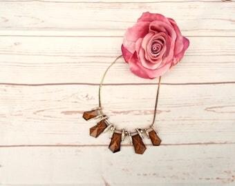 Statement Necklace - Gold Vintage Necklace - Art Deco Necklace - Marble Vintage Necklace - Art Deco Jewellery - 1980s Necklace