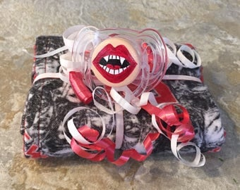 Vamp It Up Pacifier & The Walking Dead Zombie Red Reversible Burp Cloth by PiquantDesigns