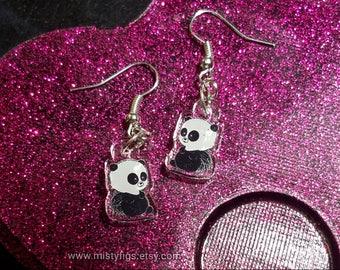 Porcupanda charm earrings