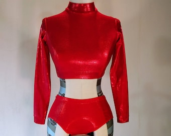 1990s 2-Piece Shiny Red Dance Leotard Outfit Club Kid