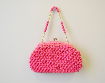 1960s Walborg Pink Wooden Bead Purse