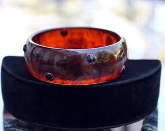 Root Beer Swirl Bakelite Bangle, with Applied Dots