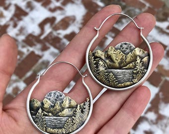 Lake Of The Woods Full Moon Earrings Ritual Remains Hoop Earrings Witchy Jewelry Mountain Range Brass Sterling Silver Mountains Nature Gifts