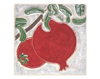 Pomegranate MUD Pi Arts and Crafts  Decorative Handmade 6x6 Ceramic Tile