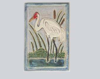 Whooping Crane Arts and Crafts MUD Pi Decorative Handmade 4x6 Ceramic Tile