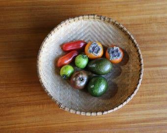Bamboo Winnowing Basket // 2 tone weave