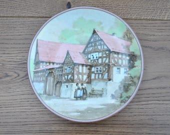Vintage china plate - Bauernhaus in Fronhausen - Farmhouse - German Timber buildings - Bradford Exchange - 22-K46-4.1