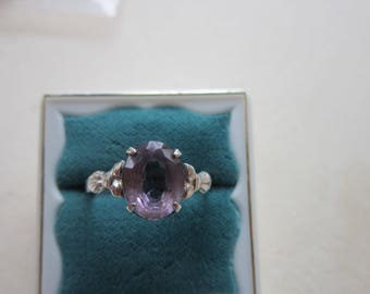 Sterling Silver 2 Carat Genuine Amethyst Ring  Vintage Size 8 Signed STERLING   Very Good Condition.