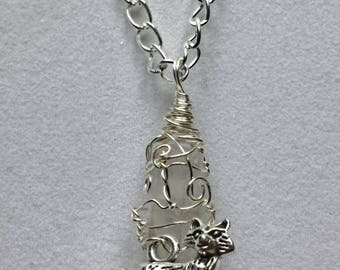 Handcrafted Wire Wrapped Fox & Clear Quartz Gemstone Pendant Necklace,Unisex,Gift for Men/Women,Spirit Animal Wolf,Druid,Mystical Jewellery