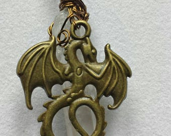 Handcrafted Wire Wrapped Dragon & Clear Quartz Gemstone Pendant, Celtic,Unisex,Gift 4 Men-Women,Spirit Animal Wolf,Druid,Mystical Jewellery