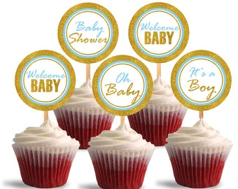 Baby Shower Cupcake Toppers, It's a Boy Printable Cupcake Toppers, Blue and Glitter Gold - Instant Download - DP487