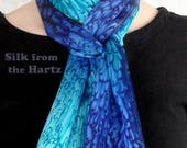 Cobalt/Turquoise Hand Dyed Silk Scarf