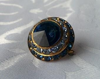 Vintage Blue Crystal Brooch, Blue Crystal Brooch, Crystal Brooch