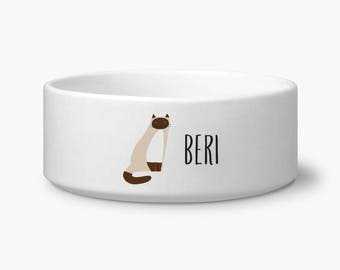 Personalized cat bowl, Siamese personalized cat food or water bowl, custom name, Siamese gift