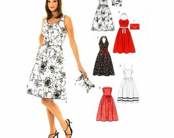 UNCUT Summer Dress Full Skirt Strapless Halter 5 Different Necklines Sewing Pattern Size 6-16 Bust 30.5-38 (78-97 cm) New Look 6457 G