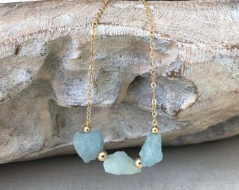 Raw Aquamarine Necklace in Gold or Silver