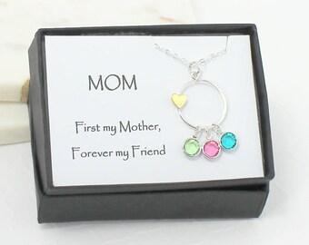 Dainty Mom Birthstone Necklace, Mom Birthstone Charm Necklace, Mom Necklace, Family Necklace, Children Birthstones, Christmas Gifts For Mom
