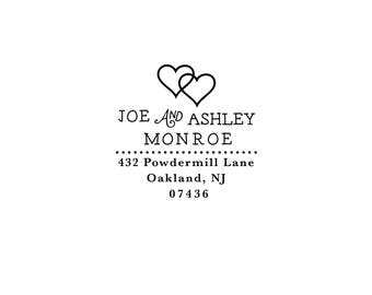 Personalized Custom Return Address Rubber Stamp or Self Inking Stationery Thank You Invite Two Hearts Together Love Wedding Marriage