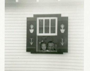 "Vintage Photo ""Peek-a-boo Window"" Snapshot Antique Black & White Photograph Found Paper Ephemera Vernacular Interior Design Mood - 51"