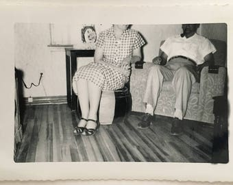 "Vintage Photo ""Gina and George"" Snapshot Antique Black & White Photograph Paper Found Ephemera Vernacular Interior Design Mood - 101"