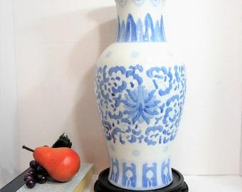 """Large Blue White Porcelain Vase, Chinoiserie 14"""" Tall Vintage Flower Vase, Asian Blue Floral on White Floor Vase"""